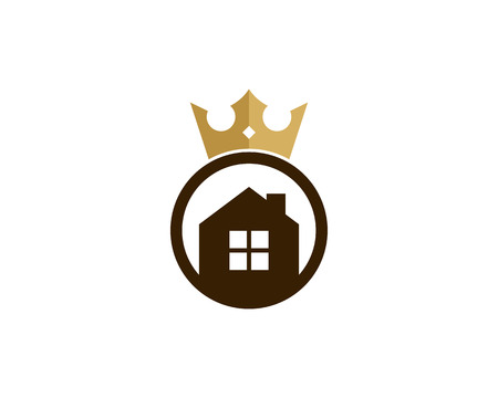 House in a circle with king crown icon logo design element