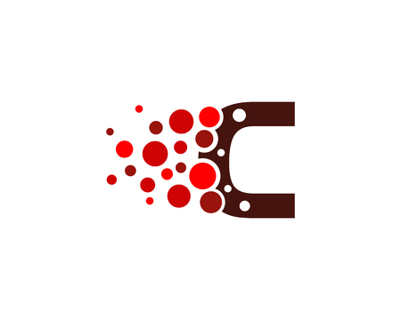 Letter C Pixel Dot Circle Icon Logo Design Element