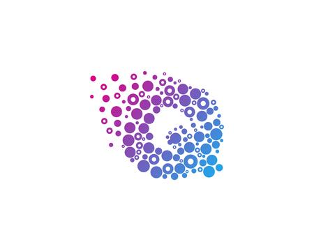 粒子 Q の文字アイコン ロゴのデザイン要素