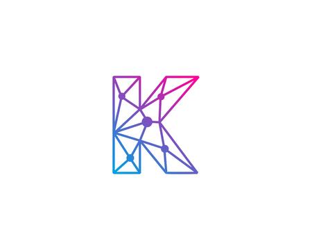 편지 K 네트워크 아이콘 로고 디자인 요소