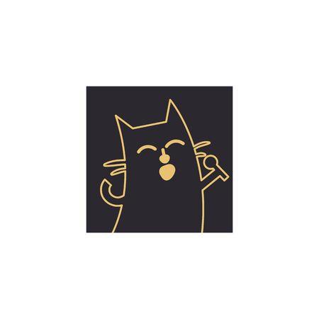 Singing cat design element. 向量圖像