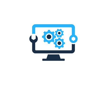 Fix Computer Icon Logo Design Element Vettoriali