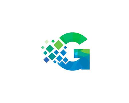 Letter G Pixel Icon Logo Design Element