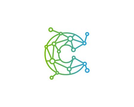Letter C Connect Dot Network Icon Logo Design Element Illustration