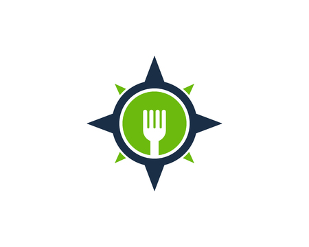 latitude: Food Compass Icon Logo Design Element
