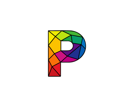 Colorful Letter P Low Poly Icon Logo Design Element Çizim