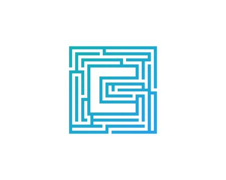 Maze Letter C Icon Logo Design Element