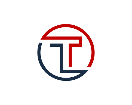 Letter T Circle Line Icon Design Element