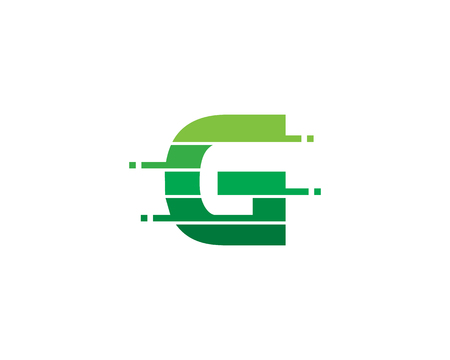 Letter G Pixel Cut Line Icon Logo Design Element