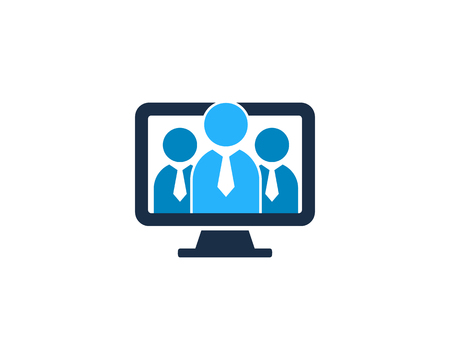 People Computer Icon Logo Design Element
