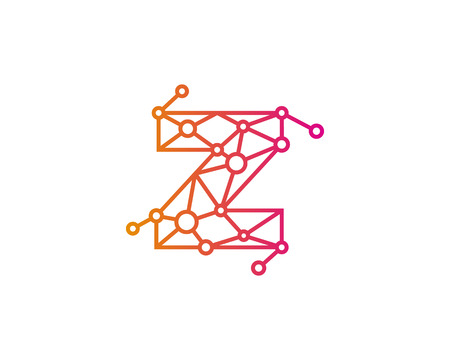 round logo: Letter Z Connect Dot Network Icon Logo Design Element