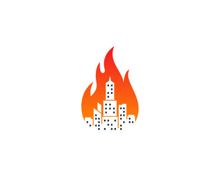 Town on fire, an Icon Logo Design for fire prevention.