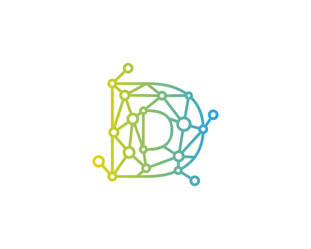 文字 D 接続ドット ネットワーク アイコン ロゴのデザイン要素
