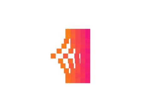 手紙一ピクセル ビット アイコン ロゴのデザイン要素