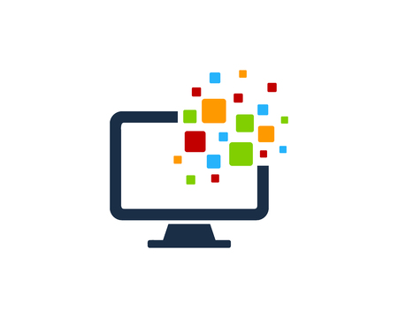Pixel Computer Icon Logo Design Element 일러스트