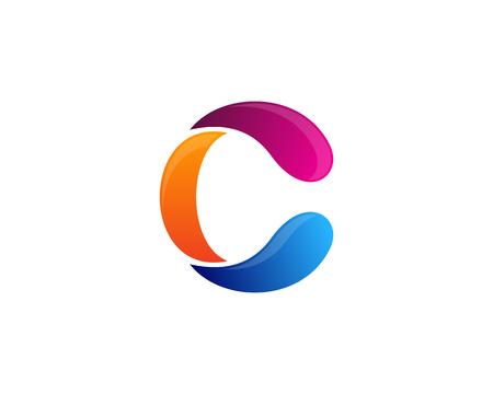 문자 C 아이콘 로고 디자인 요소