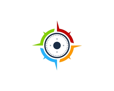 Lément de conception de logo de l'icône de boussole Banque d'images - 80611136