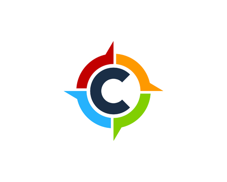 Letter C Compass Icon Logo Design Element Иллюстрация