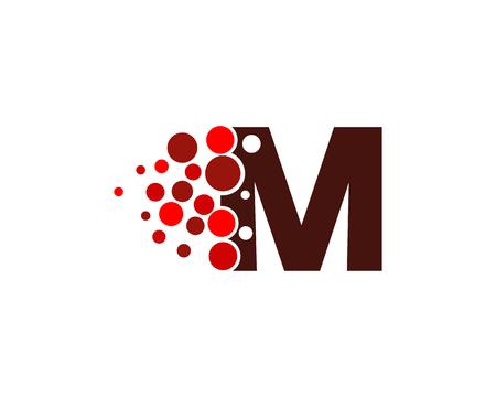 문자 M 픽셀 도트 원형 아이콘 로고 디자인 요소