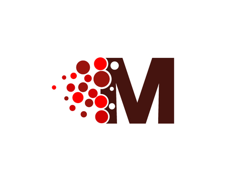Letter M Pixel Dot Circle pictogram Logo ontwerpelement
