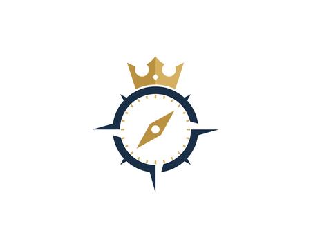 King Compass Icon Logo Design Element 向量圖像