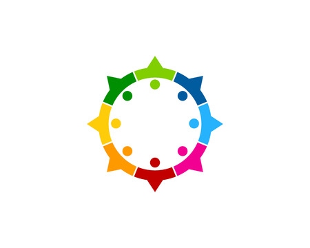 Colorful Compass Icon Logo Design Element