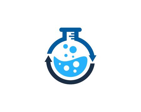 과학 실험실 아이콘 로고 디자인 요소입니다.