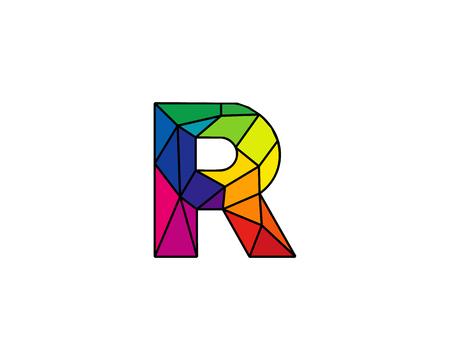 カラフルな文字 R 低ポリ アイコン ロゴのデザイン要素