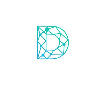 Lettre D Écouteur de réseau Élément de conception de logo Banque d'images - 80692761