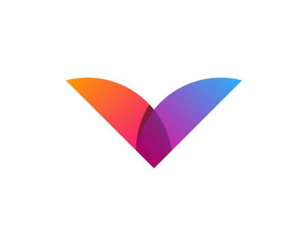 문자 V 아이콘 로고 디자인 요소