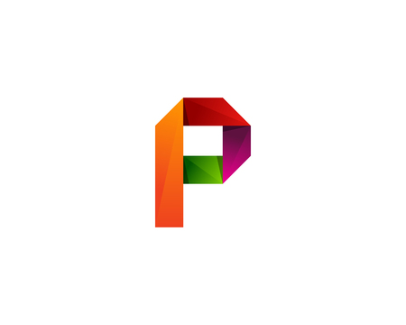 Colorful ribbon letter P icon logo design element. Ilustração