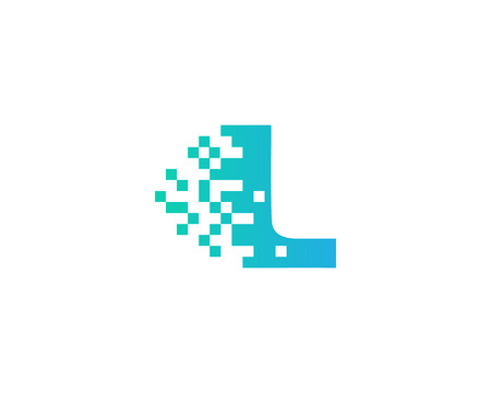 Letter L Digital Pixel Icon Logo Design Element