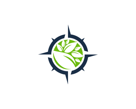 Nature Compass Icon Logo Design Element 向量圖像