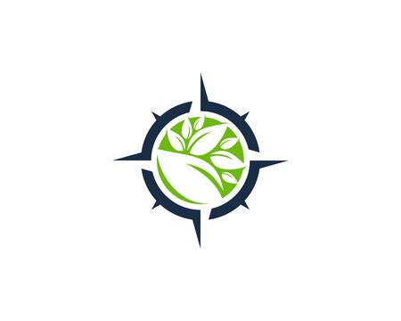 Nature Compass Icon Logo Design Element Illustration