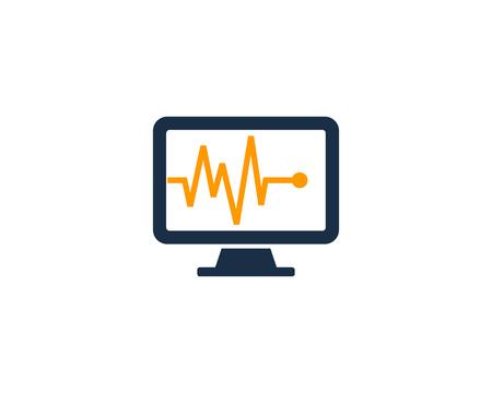 메딕 컴퓨터 아이콘 로고 디자인 요소 일러스트