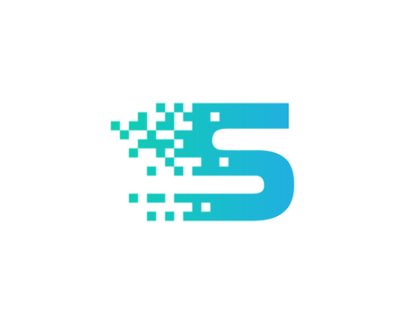 Letter S Digital Pixel Icon Logo Design Element