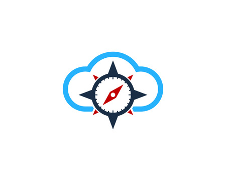 Cloud Compass Icon Logo Design Element.