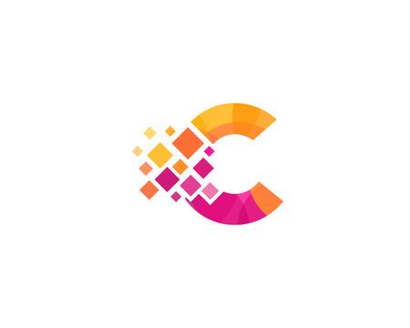 Letter C Pixel Icon Logo Design Element