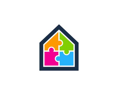 집 홈 아이콘 로고 디자인 요소 일러스트