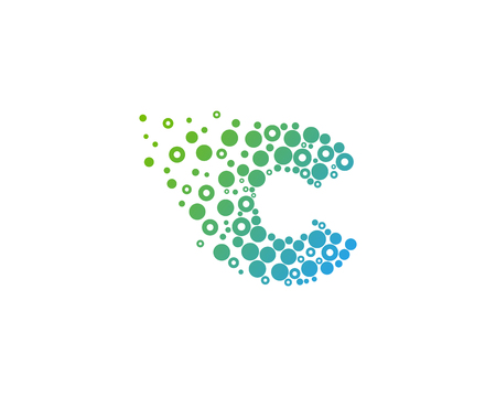 Particle Letter C Icon Logo Design Element