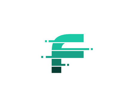 Letter F Pixel Cut Line Icon Logo Design Element 矢量图像