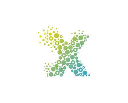 입자 문자 X 아이콘 로고 디자인 요소