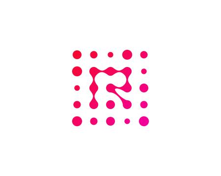 Letter R Dot Icon Logo Design Element