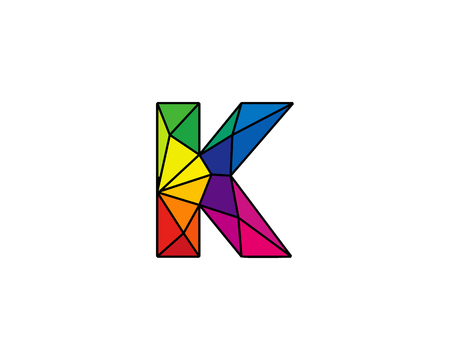 Colorful Letter K Low Poly Icon Logo Design Element Illustration