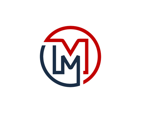 Letter M Circle Line Icon Design Element