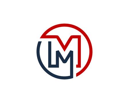 Letter M Circle Line Icon Design Element