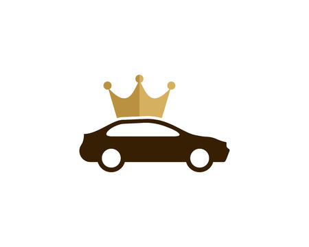 Car and king crown icon logo design element