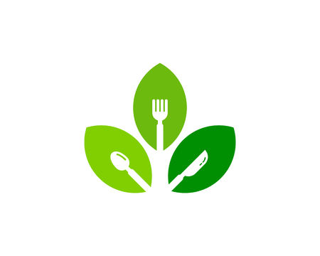A concept illustration of leaves with fork, spoon and knife symbols. Food Icon Logo Design Element