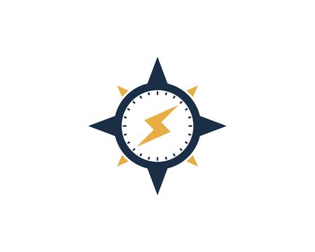 電源コンパス アイコン ロゴのデザイン要素