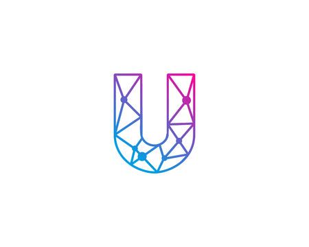 Letter U netwerk pictogram Logo ontwerpelement Stock Illustratie